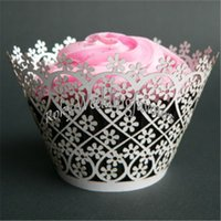 Spedizione gratuita 50PCS Laser Cut Flower wrapper Cupcake Wrapper Birthday Party Sweet Reception Impostazione pacchetto Cupcake Baby Shower Idee