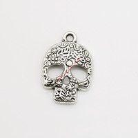 Wholesale Wholesale Bracelets Skulls - 20pcs Antique Silver Plated Skull Head Charm Pendants for Bracelet Necklace Jewelry Making DIY Handmade Craft 23x16mm