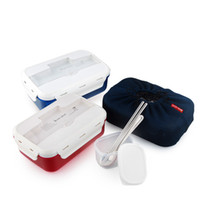 Kostenloser Versand Neue Bento Lunch Box-Set mit chopstics + Löffel + Insulated Bag Food Container Thermal Bento Box