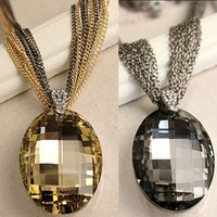 Wholesale Charms Whosale - Wholesale-Whosale New Vintage Gold   Black Oval Glass Crystal Pendant Necklace, Charm Multi-Chain Long Chain Necklaces for Women XHP076