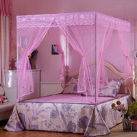 Wholesale Three Door Royal Mosquito Nets - Mosquito Net Bed Net Mosquito Curtain Square Shape Bed Nettings 3 Openings Royal Style Bedding Nets Sleeping Tent 2 Sizes