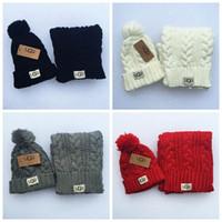 Wholesale Wholesale Scarf Sets - Knitted Winter Hats Scarf Set Ball Hat Pom Pom Beanies Baby Girls Warm Cap Scarf Two Piece Sets LJJO3139