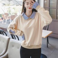Wholesale Fake Two Pieces Jacket - F6123 Real picture sweater female autumn and winter new fake two-piece jacket Korean tide students loose stitching shirt T-shirt