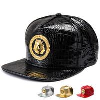 Wholesale Pu Golf Balls - Punk style Golden PU Leather Egyptian Pharaoh Avatar Baseball caps men women Golf gorras snapback hat Last kings hip hop Crystal hats