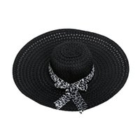 Wholesale Decorated Sun Hats - Wholesale- 2017 NEW Black Summer Exquisite Leopard Ribbon Bowknot Decorated Openwork Sun Hat For Women