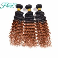 profundas extensiones de cabello ondulado indio al por mayor-Productos de alta 8A Indian Hair Brown Ombre Paquetes de cabello ondulado 3Pcs Lot Two Tone 1B / 30 Honey Ombre Deep Wave Extensiones de cabello humano