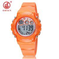 ingrosso ragazzi orologio arancione-Vendita calda OHSEN Orange Kid Bambini LED Digital Watch cinturino in silicone Boy moda popolare impermeabile sport all'aria aperta orologi da polso regalo Horloge