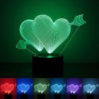 Wholesale Deco Heart - Wholesale- Valentines day Gift 3D Lamp LED Night Light 7 Colors Table Lampe Deco Bulb Touch Sensor luminarias fixtures lamparas veilleuse