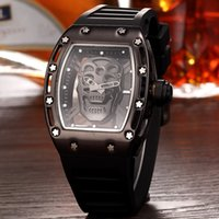 Wholesale Skeleton Rubber Watch - Casual Fashion Skeleton Watches men Luxury brand Army Skull sport quartz watch