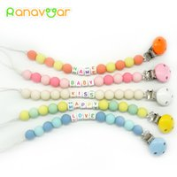 Wholesale Personalised Dummy Clips - Personalised- Any Name Pacifier Clips Gift Dummy Handmade Pacifier Chain Holder Baby Nipple Feeding Garment Wooden Clip NZL04