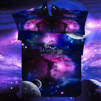 3 / 4pcs Hipster Galaxy 3D Set biancheria da letto Universo Outer Space Themed Copripiumino Lenzuolo federa queen size