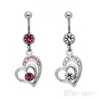 Wholesale Large Belly Button Rings - Surgical Steel Large Dangling Heart Belly Button Navel Ring 087C