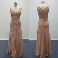Wholesale long dresses for women wedding - 2017 New Real Pictures Dusty Pink Bridesmaid Dresses for Elegant Wedding V Neck Ruffle Design Woman Formal Prom Gowns