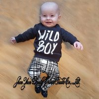 Wholesale Cute Baby Boy Pajamas - NWT 2016 New cute Wild boy Baby Boys short sleeve Outfits Set Summer Sets Boy Cotton Tops Shirts + Harem Pants 2piece sets plaid pajamas INS