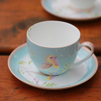 Wholesale European Tea Coffee Sets - 2017 Wholesale European Style Bird Coffee Cup England Bone China Tea Cup And Saucer Set High Quality Mugs