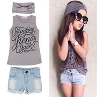 Wholesale baby girl denim short pant - Baby Kids Summer Clothes Girls Vest Top+Denim Pants Shorts+Scarf 3 Pcs Suit Outfit Clothing Set 5 s l