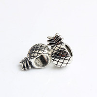 Wholesale Pandora Pineapple - Replacement Alloy Charm Bead Pineapple Big Hole 925 Silver Plated Fashion Women Jewelry European Style For Pandora Bracelet Necklace