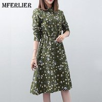 Wholesale Girls Floral Dress Green - Mori Girl Autumn Floral Dress Stand Collar Long Sleeve Elastic Waist Pleated Green Yellow Blue Shirt Dress