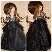 Wholesale Taffeta Empire Ball Gown - Sheer Long Sleeves Black Lace Appliques Ball Gown Dubai Arabic Evening Dresses Pleated Sweep Train Middle East Special Occasion Prom Gowns