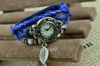 Wholesale Cheapest Casual Watch - DHgate Cheapest Luxury Pastoral Vintage Watch Leaf Pendant Leather Strap Casual Watches Analog Bronze Leaves Women Ladies Quartz watch