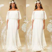 Wholesale Dresses Loose Beads - Theia Fall 2017 Bohemian Wedding Dress Off Shoulder Neckline Loose A Line Floor Length Ivory Chiffon Greek Goddess Beach Bridal Gowns