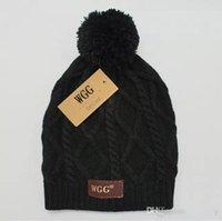 örme yün şapkalar toptan satış-WGG kaşmir şapka Moda örme yün şapka Damalı desen Kadınlar kış şapka