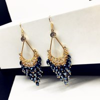 Wholesale Coloured Crystal Chandeliers - Bohemina style 6 colours crystal drop dangle earrings for women's gift and party jewelry wholesale price free shipping