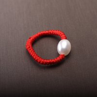 Wholesale Handmade Pearl Rings - 6-7mm Freshwater Pearl Ring Red Handmade Rope Length 19mm Women Children's Ring Festive Gift Surprise Party Gift