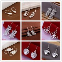 Wholesale Dangle Chandelier Sterling Silver - Factory direct sale 9 pairs diffrent style women's 925 silver earring GTE17,wholesale fashion sterling silver Dangle Chandelier earrings