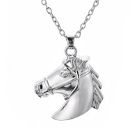 Wholesale red horse riding - Horse Head Riding Equestrian Silver Tone Charm Necklace Pendant Jewelry