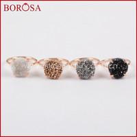 Wholesale Gold Drusy Ring -  12mm Round Rose Gold Claw Titanium Natural Druzy Quartz Stone Drusy Ring High Quality Fashion Gems Ring ZG0166