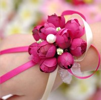 Wholesale Wholesale Decorative Flowers Wreaths - 2016 Real 6pcs lot Boutonnieres Wedding Prom Wrist Corsage With Bracelet Bride Flowers Decorative Flowers wreaths Free Shipping HJIA198