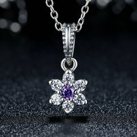 Wholesale Purple Pandora Charms - Forget-Me-Not Flower Dangle Charms in Genuine 925 Sterling Silver with Purple & Clear Stones for Pandora Style Beaded Charm Bracelets S293