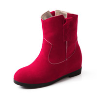Wholesale korean zipper boots - Spring and Autumn Korean version of the new increase in the zipper pure-colored leisure boots HUIHAO 519