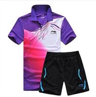 Wholesale Badminton Short Li Ning - 2015 New Li Ning sports table tennis breathable clothing badminton men's t-shirt table tennis clothes suit shirt + shorts