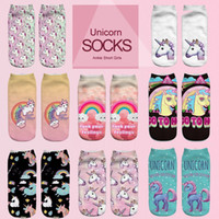 Wholesale Print Ankle Socks Womens - kids Socks Emoji Unicorn Funny Socks Hot Sale 3d Printed Womens Socks Low Cut Ankle Short Spaort Sock