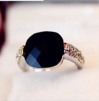 Wholesale Square Drill - Rings for Women Wedding Pink Queen Square Imitation Black Onyx Gemstone Finger Ring Crystal Flash Drill Retro Personality Gemstone Rings