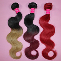 Wholesale blue ombre hair for sale - 7A Ombre virgin hair bundles Brazilian Body Wave Human Hair Weave Two Tone Weft B Brown Bloned Red Blue Purple Peruvian cheap ombre hair