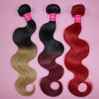 Wholesale Two Cheap Bundles Weave - 7A Ombre virgin hair bundles Brazilian Body Wave Human Hair Weave Two Tone Weft 1B Brown Bloned Red Blue Purple Peruvian cheap ombre hair