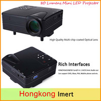 Wholesale Vga Systems - Free DHL Full HD Home Theater Cinema H80 LCD Image System 80 Lumens Mini LED Projector with AV VGA USB HDMI
