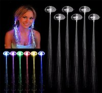 Wholesale Wholesale Fiber Optic Lighting Supply - LED Fiber Optic Lights up Flashing Hair Barrettes Party Supplies (Assorted Colors) flash light emitting braids