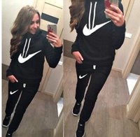 Wholesale Lace Belts Clothing - Hot!!! New Women active set tracksuits Hoodies Sweatshirt +Pant Running Sport Track suit 2 Pieces jogging sets survetement femme clothing
