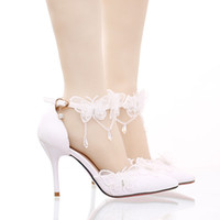 Wholesale Butterfly Prom Shoes - White Lace Butterfly Bridal Dress Shoes Pointed Toe Stiletto Heel Wedding Shoes with Buckle Straps Prom Pumps Bridesmaid Shoes