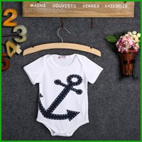 Wholesale Free Shipping Clothing Playsuit - anchor rompers baby boys girls playsuit hot selling toddler infant newborn bodysuits cute children clothing one piece free shipping