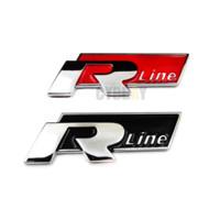 autocollants gti achat en gros de-Rline R Line Chrome Alliage Tronc Badge Emblème Autocollants De Voiture pour Volkswagen VW Golf 4 5 6 GTI Touran Tiguan POLO BORA