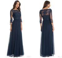 vestido azul marino para madres al por mayor-Caliente Robe De Soiree Tulle Vestidos de dama de honor de encaje Escote redondo Cuello azul marino Mangas tres cuartos Vestido de madre de la novia
