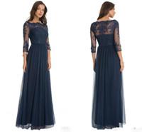 drei viertel ärmel formales kleid großhandel-Hot Robe De Soiree Tüll Formale Brautjungfernkleider Spitze Rundhalsausschnitt Dunkelblau Ärmel mit drei Vierteln Kleider für die Brautmutter