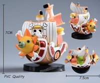 Wholesale One Piece Sunny Pirate - Japanese ONE PIECE Thousand Sunny Pirate Ship PVC Action Figure One Piece Going Merry Ship Model Mini Doll Figuras Kids Toys