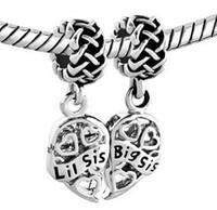 Wholesale Little Sister Charm - Plating Filigree heart big sister and little sister Dangle set Charm fit Pandora Chamilia Biagi bracelet