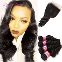 Wholesale Human Hair Weave Malaysia - Malaysian Loose Curls Human Hair Wefts With Lace Closure MS Lula Malaysia Loose Wave Hair Extensions 4pcs And Top Closure Natural Black Soft